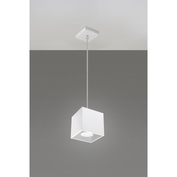 Kwadratowa lampa wisząca Quad Biały kostka LED! – Sklep Lampex