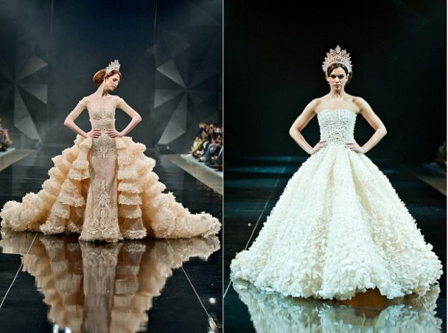Two of Michael Cinco's creations during Dubai's Fashion Forward.