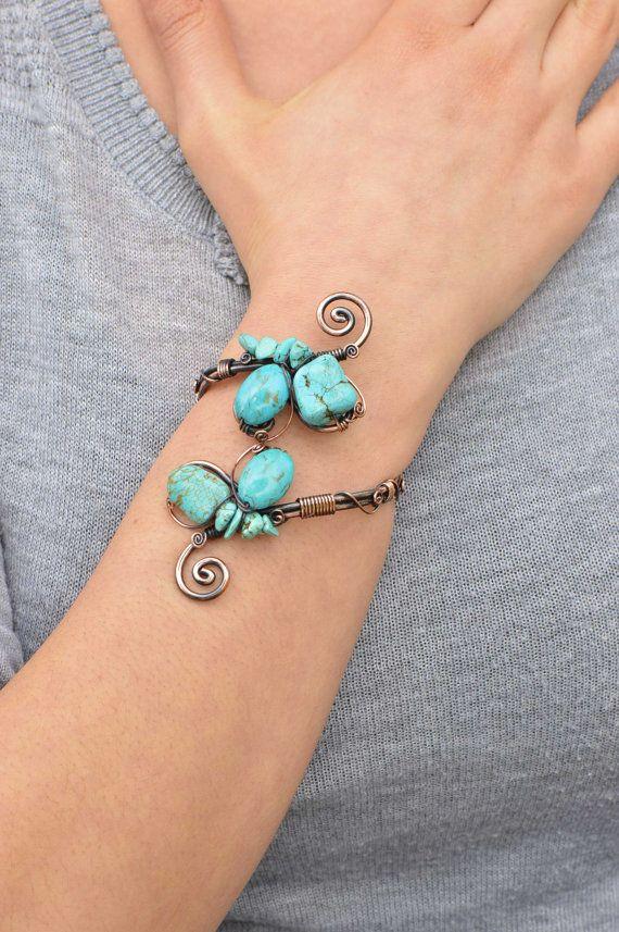 Copper jewelry bracelet, turquoise wire wrapped, handmade jewelry, adjustable, birthstone, cuff bracelet, jewelry ,copper bracelet healing