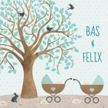 Geboortekaartje met kraft, boom en twee kinderwagens met tweeling jongens erin.
