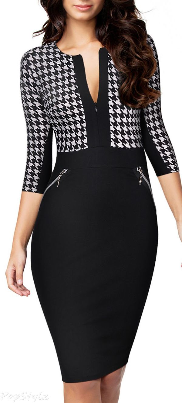 MIUSOL Formal Houndstooth Optical Illusion Business Dress