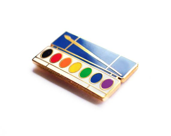 Watercolor Palette Pin by walrusandtoad on Etsy