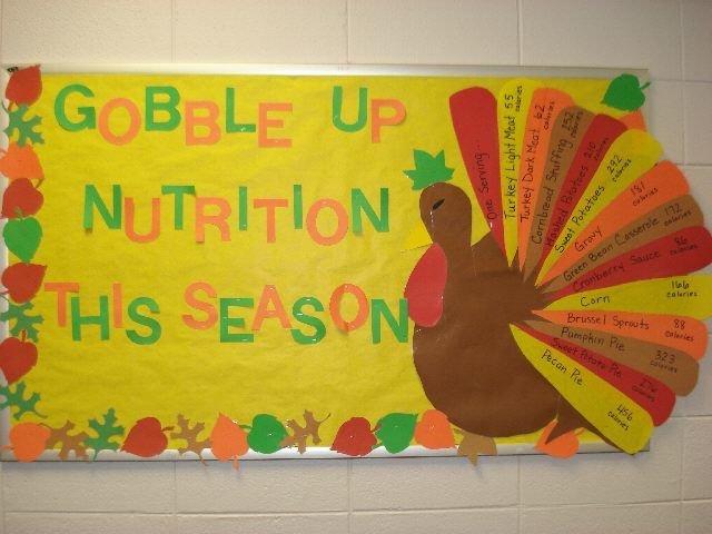 """Gobble Up Nutrition This Season"" is a Thanksgiving bulletin board display that was created to make children aware of the amount of calories eaten in a traditional Thanksgiving dinner."
