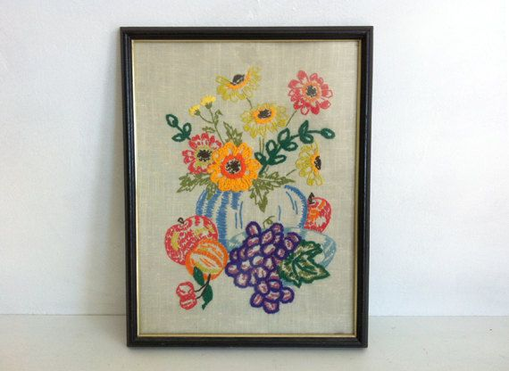 Vintage Crewel Embroidery handmade flowers & fruit still life on linen corn poppies ranunculus anemones cherries grapes orange apple. $35.00, via Etsy.