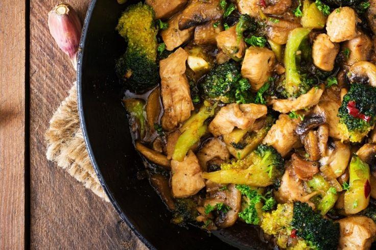 Sauté de brocoli, champignons et poulet...sauce miel et sésame