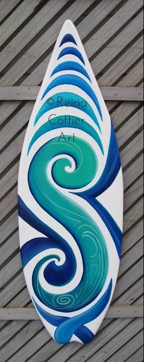 Mini Surf Board Art by Reina Cottier Handmade from recycled ply wood, and handpainted. Ship worldwide. https://www.etsy.com/listing/218963985/mini-surfboard-art?ref=shop_home_active_1
