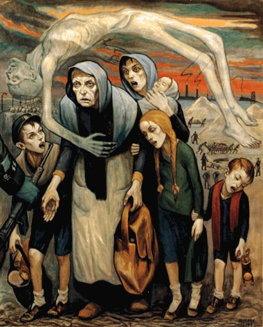 Unable to Work by David Olère. 131x162 cm, A Living Memorial to the Holocaust, New York.  Inability to work was often an immediate death sentence. In the background of this painting, smoke rises from the crematorium to form the SS insignia.