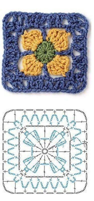 Crochet Square Motif - Chart ❥ 4U // hf: