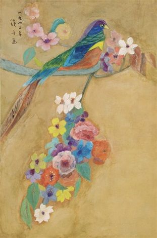(Korea) Bird,1973 by Chun Kyung-ja (1924-2015). 58×39cm. 천경자.