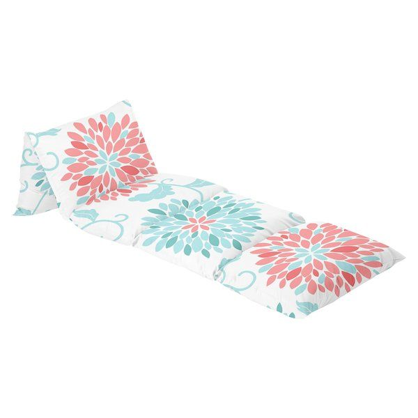 Emma Floor Pillow Lounger Cover by Sweet Jojo Designs will add extra seating space that's kid-friendly. Simply insert 5 standard pillows of your choice into each of the connected zippered cases. Lay flat to lounge or fold under to use in a seated or reclining position.