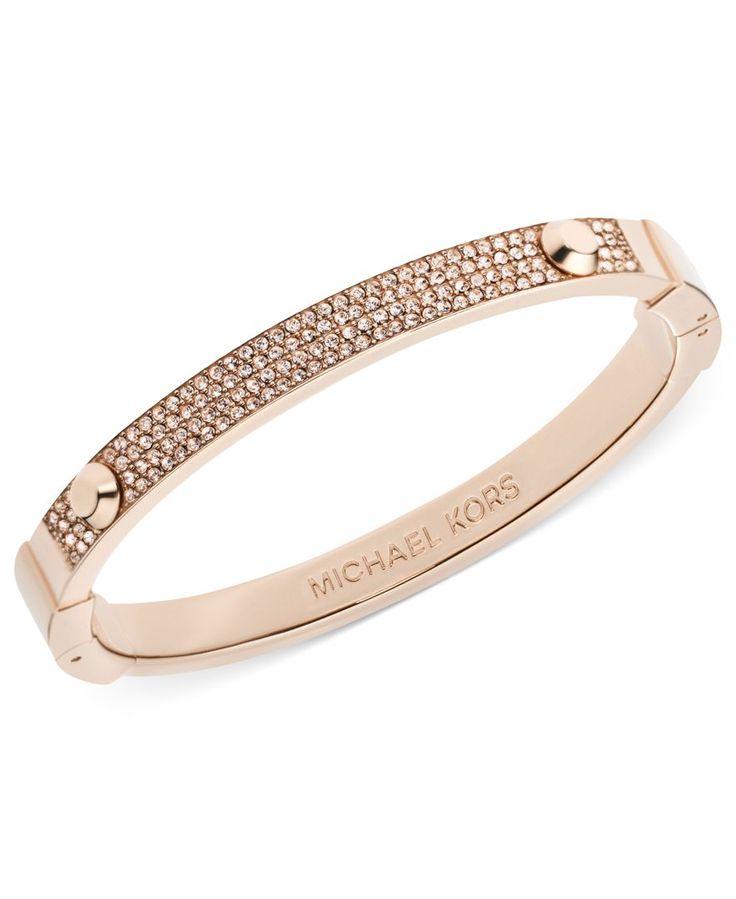 Michael Kors Bracelet Gold Tone Pave Hinge Bracelet
