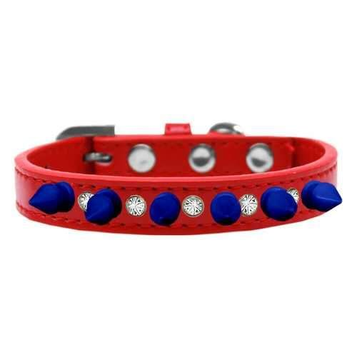 Crystals and Blue Spikes Dog Collar - Red