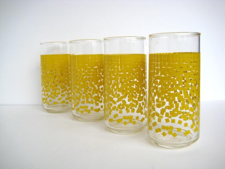 Yellow drinking glasses, set of four, falling squares, yellow gradient. $16.50, via Etsy.