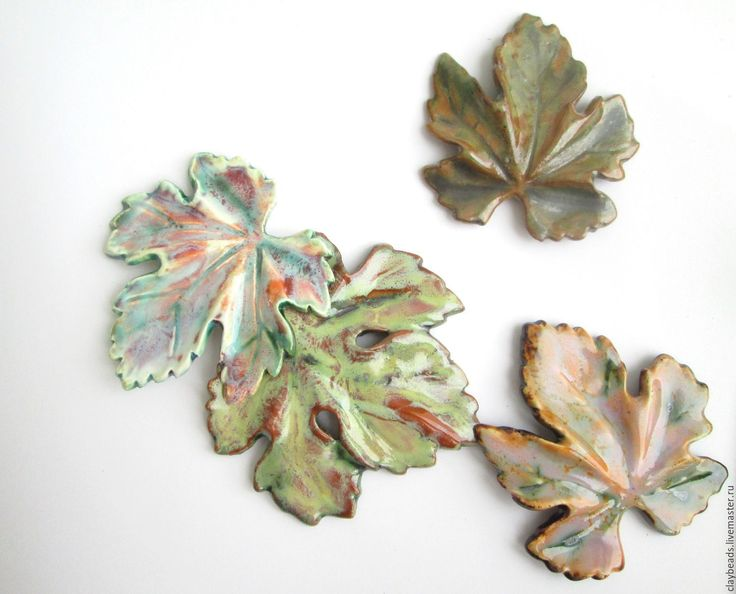 """Купить Керамические броши """"Осенние листья"""" - керамические украшения, украшения из керамики, керамические броши"""