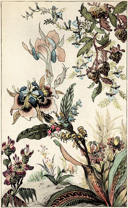 Japanese Fantasy Flowers - TROWBRIDGE antique archives. in Silver Leaf Mirror (Frame Code: 965)