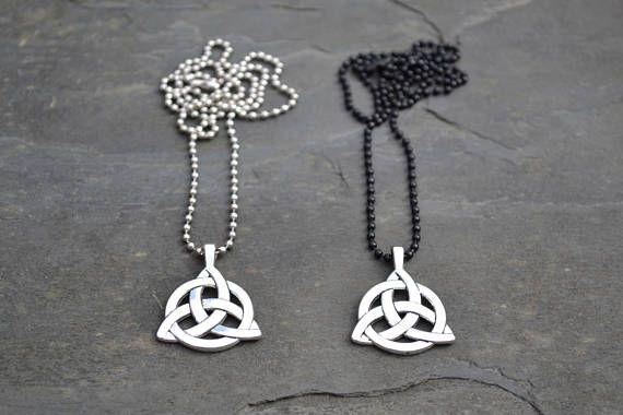 Heren / Unisex zwart of zilver kraal Ball Chain ketting met Keltische TRIQUETRA knoop charme - qq, kies duur :)