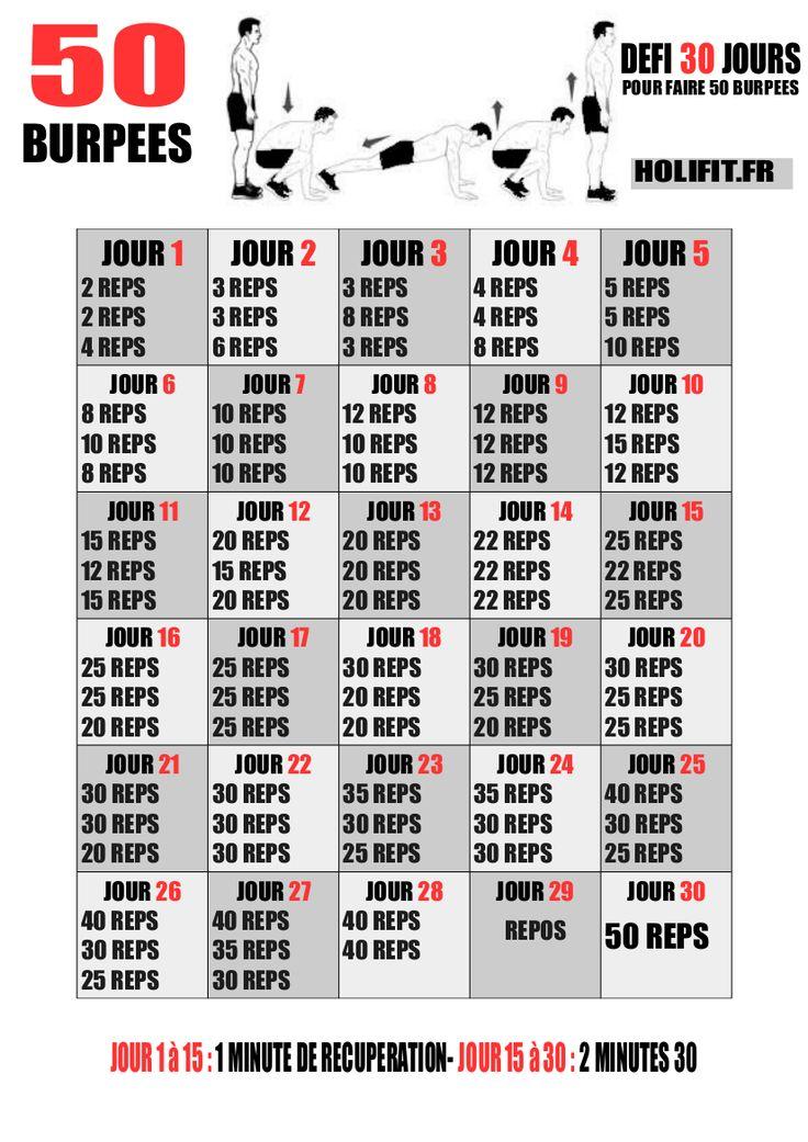 Ce défi de 30 jours vous propose une progression pour réaliser 50 burpees en une seule série à la fin du challenge !