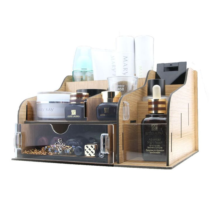 Hot-selling Wholesale wooden  acrylic  desktop makeup drawer storage box