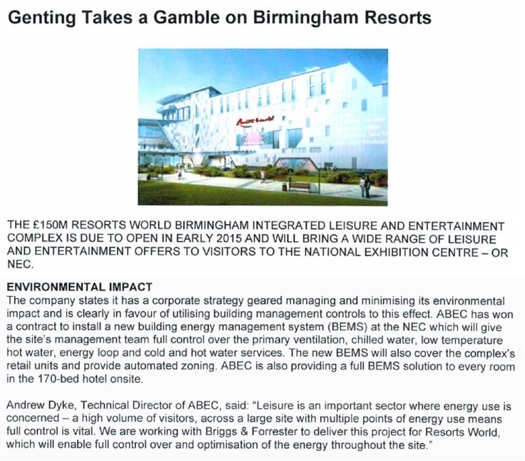 Genting takes a gamble on Birmingham resorts