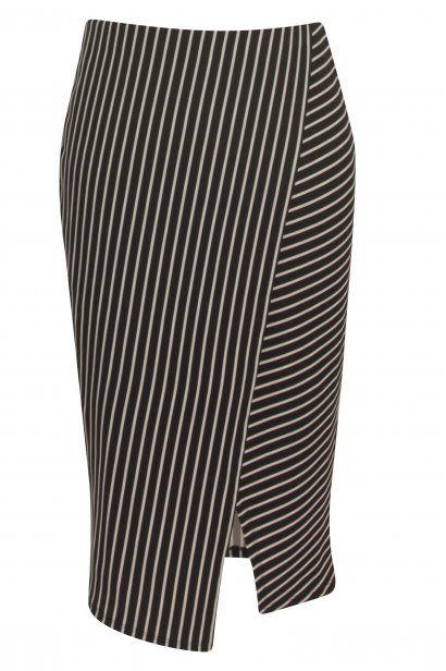 PIN STRIPE STRETCH Stripe, elastic waist, cross over front, asymmetric hem, HSP 71cm to longest point
