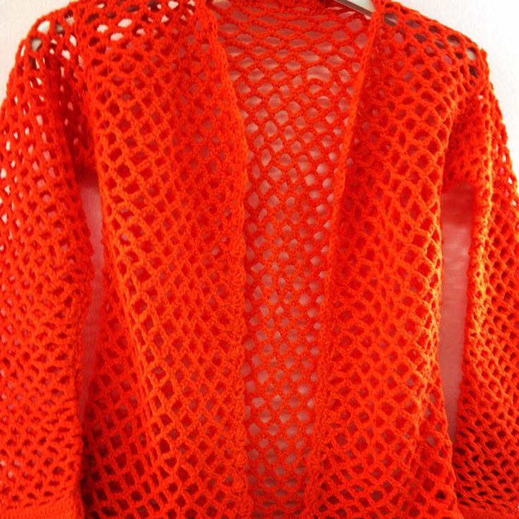 Chaqueta tejida en algodón 100%, a crochet y en punto red, color naranja