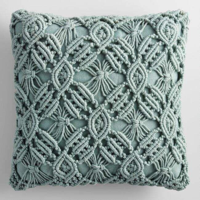 Jadeite Macrame Indoor Outdoor Throw Pillow#ad