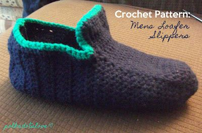 One piece crochet man's slipper & sewn up seem, pattern by Stacey, made to fit a Men's size 11 foot.