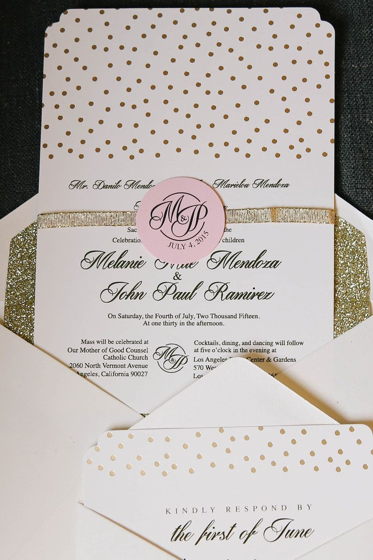 sister marriage invitation letter format%0A White and Gold Polka Dot Wedding Invitation Photo Monogram Pink Decor Wedding  Invitation of Charming Gold Wedding Invitation Design Template Ideas to  Check