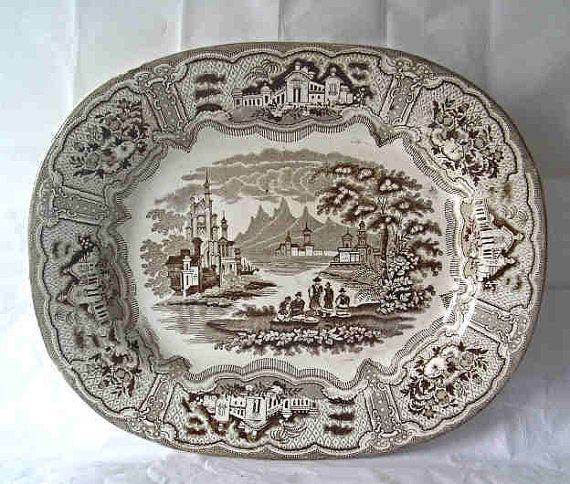 A Brown Transferware English Victorian Platter by precambrianman