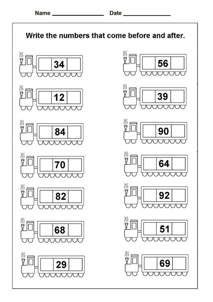 After Number Worksheets For Kindergarten