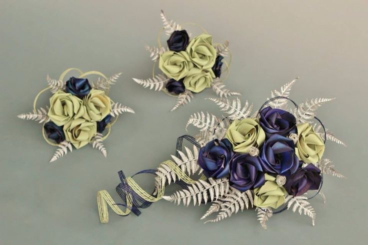 Flax bouquets in deep blue and pale sage with silver fern created by Flaxation. www.flaxation.co.nz