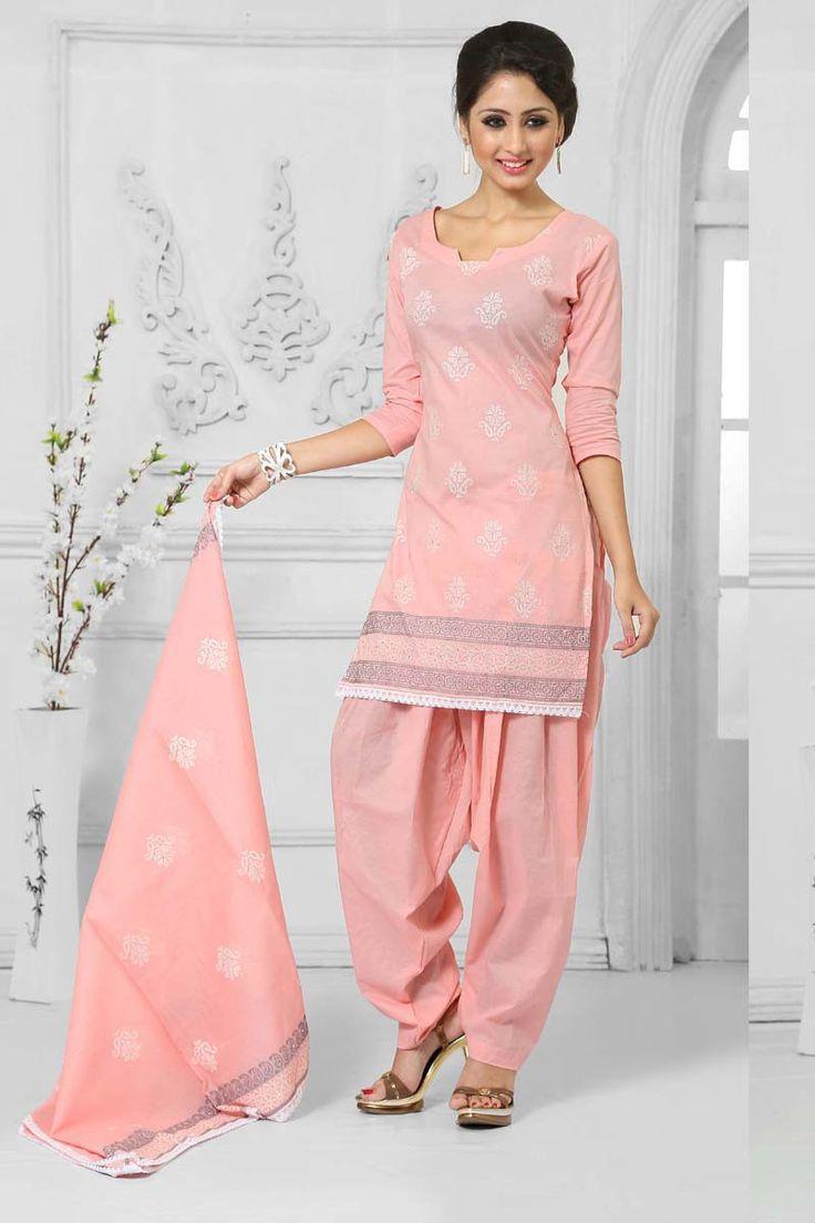 Peach Cotton Punjabi Suit