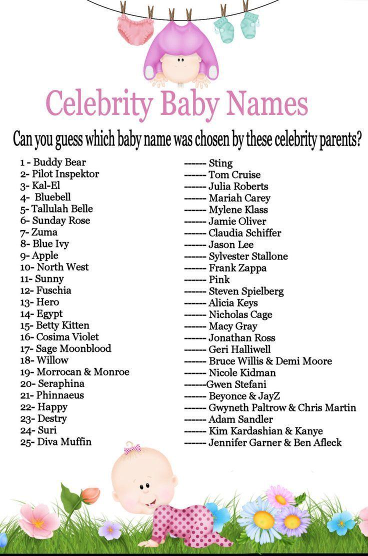 25 Beruhmtheit Baby Name Ratespiel Baby Shower Ideen Sofortiger Download Druckbare G Baby Shower Party Games Celebrity Baby Names Baby Shower Fun