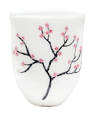 67% OFF Dynasty Gallery Hand-Painted Mouth-Blown Cherry Blossom Vase with Flat Base