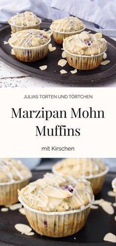 Rezept zum Backen von Marzipan Mohn Muffins mit Kirschen ... Es muss ja nicht immer Kuchen sein ;) #Marzipan #Mohn # Kirschen #Muffins
