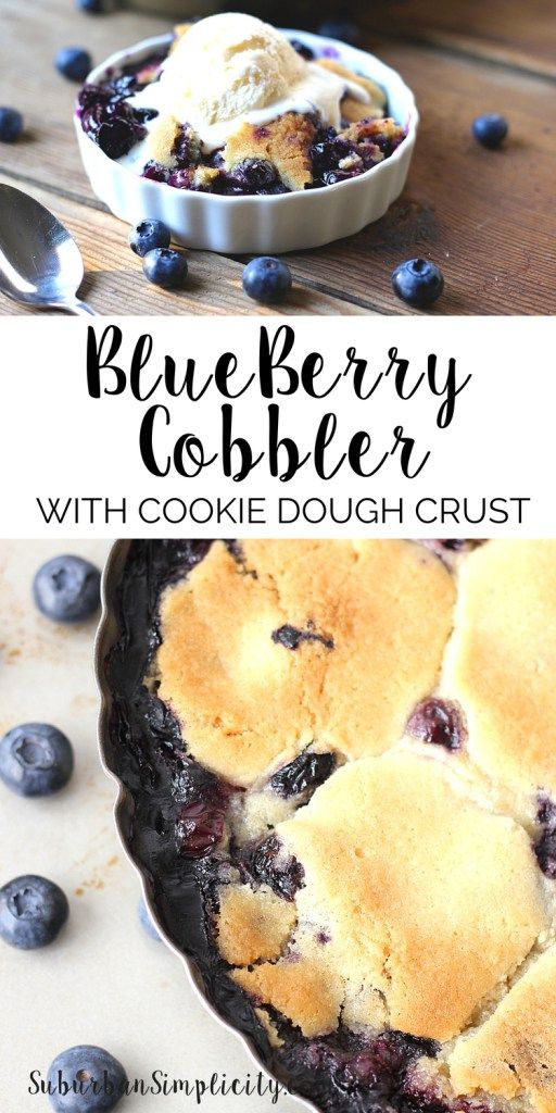 Blueberry Cobbler with Cookie Dough Crust is the best dessert idea ever! Spoonfuls of buttery sugar cookie dough are placed over the blueberry filling to create a golden cookie crust that's amazing! This recipe is irritable with vanilla ice cream!