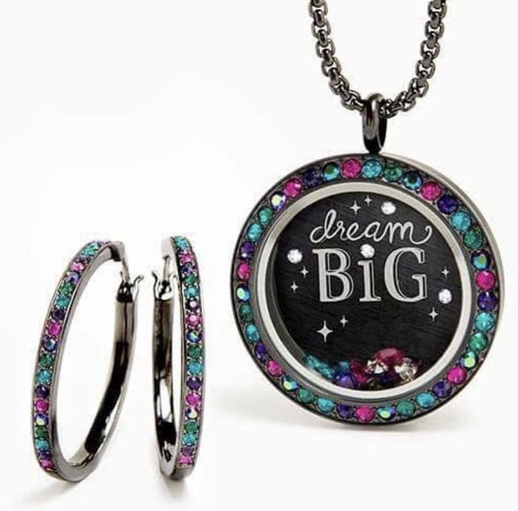 """Origami Owl's new Eye Candy Jewels Large Gunmetal Twist Living Locket + matching Gunmetal 30mm Kate Hoop Earrings. The combination of the colors mixed with the Gunmetal is crazy! A must have from the Fall/Winter 2017 Collection *Also pictured is the Large Black """"Dream Big"""" Plate, Eye Candy Jewels Stardust & 24-26"""" Gunmetal Cube Chain. www.charmingsusie.origamiowl.com"""