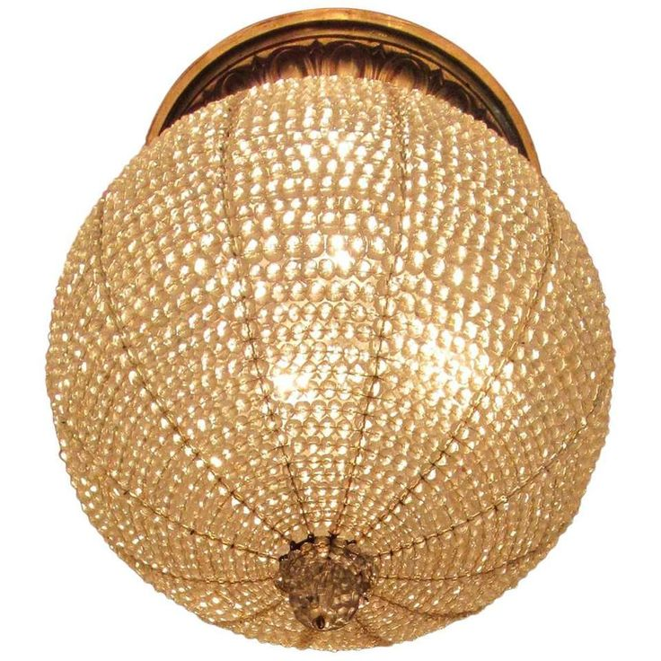 Early 20th Century New York Art Deco Crystal Sphere Light Fixture 1