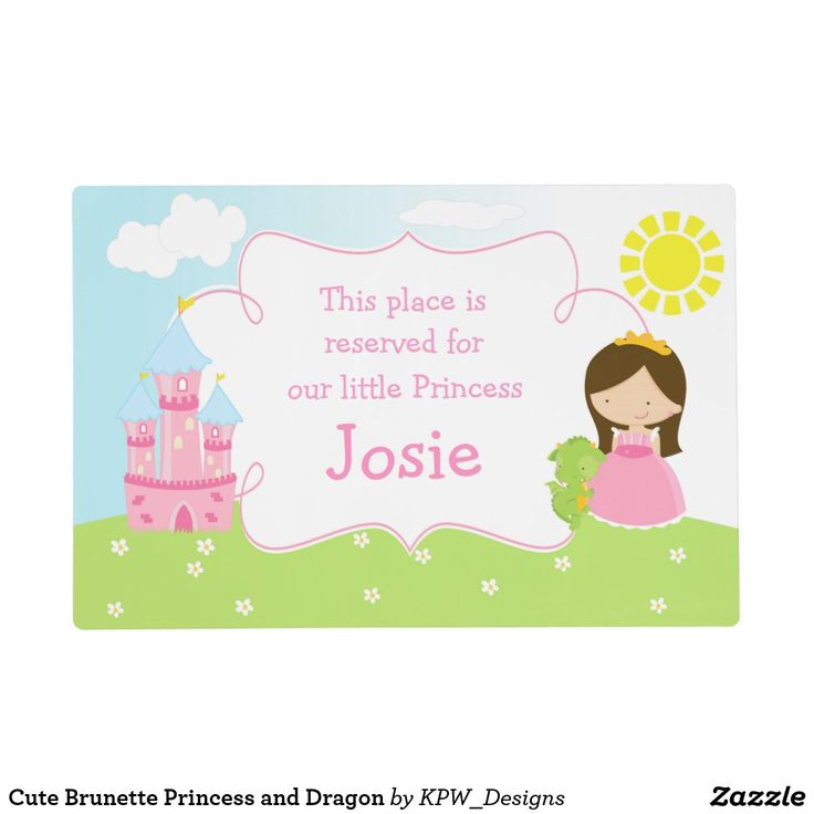 Cute Brunette Princess and Dragon Placemat