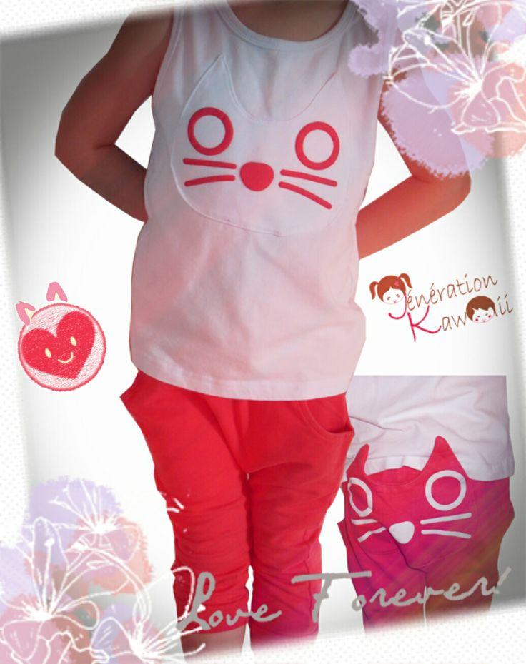 Ensemble chat #kawaii dispo chez generation-kawaii.com ♥ Chou!!!! #mode #enfants