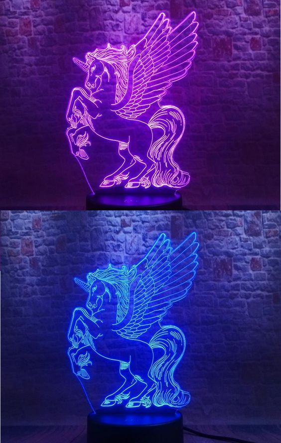 Unicorn 3d Led Illusion Night Light Lamp Illusion Lamp Led Light Night Unicorn In 2020 Cute Night Lights Animal Night Light Night Light Kids