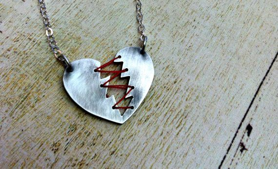 Mended Heart necklace. Sterling Silver and Thread. Heartbreaker Necklace. Broken Heart. Stitched Heart. $75