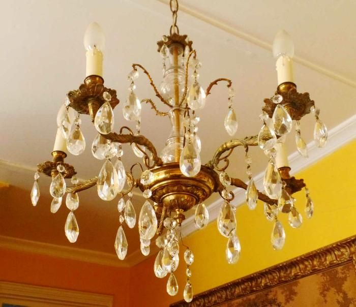 Antique 5-light cut crystal and brass chandelier