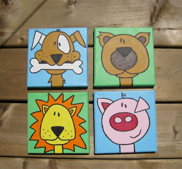 3 CUSTOM small paintings YOU CHOOSE animals and colors. $55.00, via Etsy.