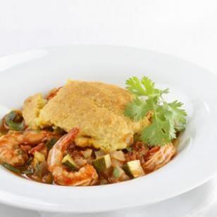 Seafood casserole with cornbread