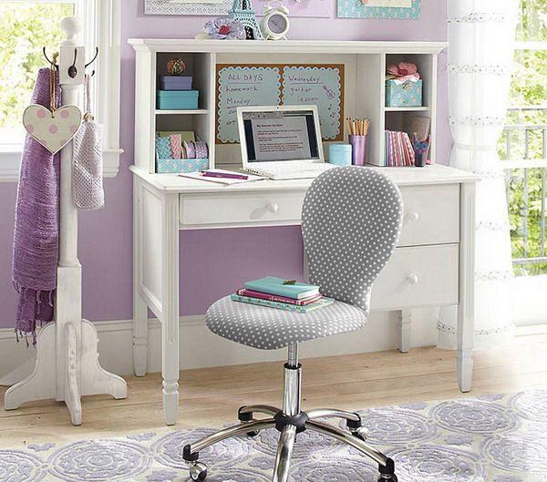 Girls Bedroom with White Study Desk | kids | Pinterest