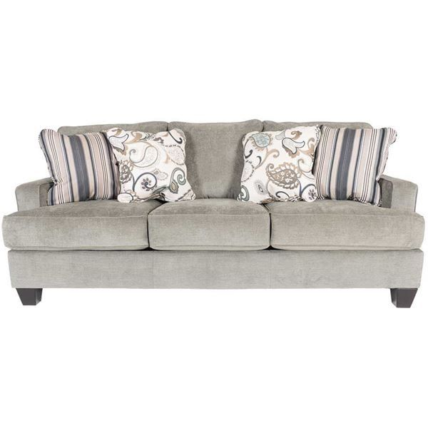 Chic Yvette Steel Upholstery sofa by Ashley Furniture. Lusterous steel gray color with warm cherry legs and a great modern look for your home!