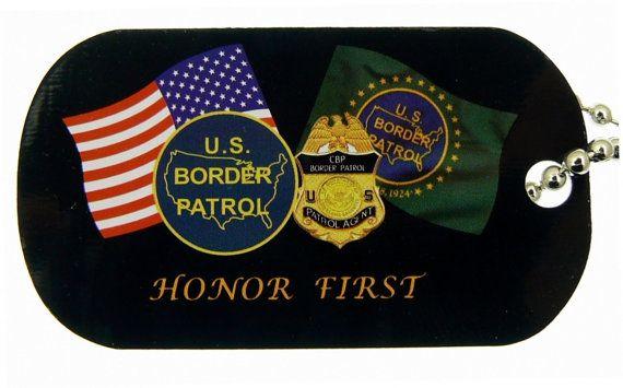 US Border Patrol Dog Tag Necklace 24 Inch by PinkCloudsAndAngels