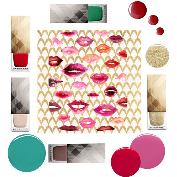 Burberry nails by lenahcaruana on Polyvore featuring beauty, Burberry, Lancôme, Topshop, Barclay Butera, nails, springfeelings and nailcolors: