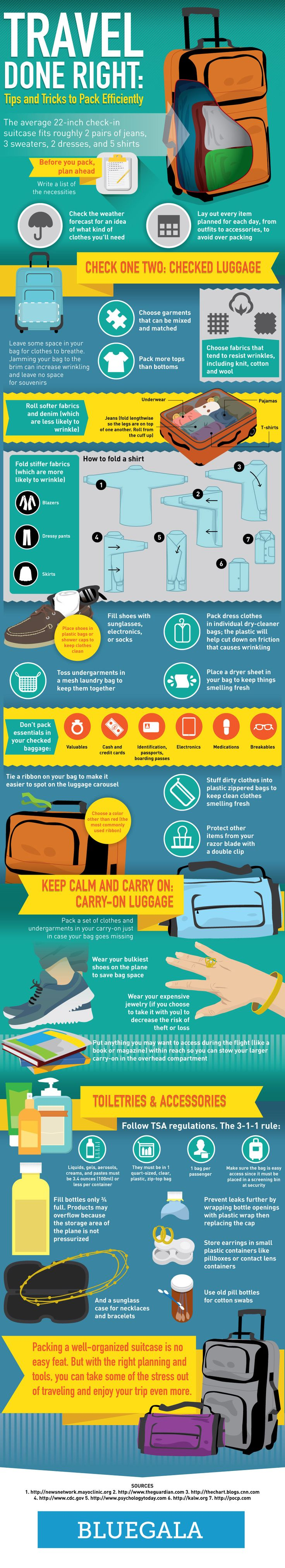 Travel Done Right: Tips And Tricks To Pack Efficiently #infographic #Travel #Packing